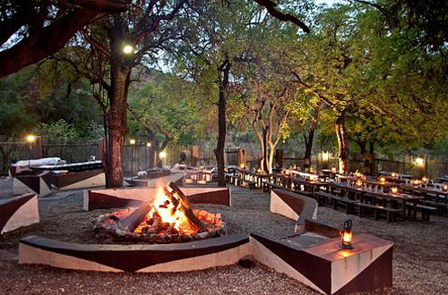 Kwa Maritane Bush Lodge Boma Fire Outside Dining Accommodation Bookings Pilanesberg Game Park Safari Accommodation